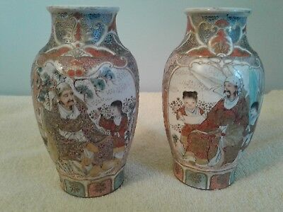 Antique Japanese Meiji Period Satsuma Vases Earthenware Pottery.