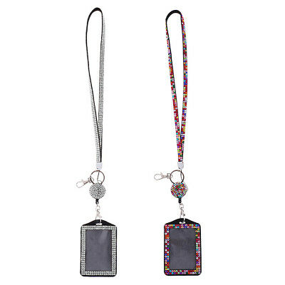 2x Rhinestone Shiny Lanyard with Retractable Reel Vertical ID Badge Holder