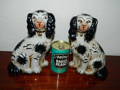 Vintage Pair Of Staffordshire Spaniel dogs Antiqued Finish
