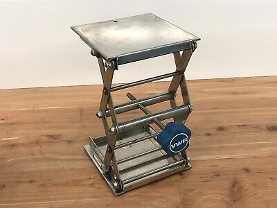 """VWR Stainless Steel Support Jack 6"""" x 6"""" Plate 133 lbs Load 3- 9.75"""" Lift"""