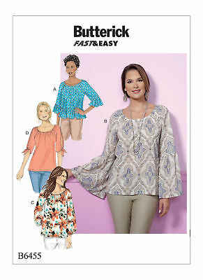 Butterick Sewing Pattern B6455 Easy to Sew Raglan Sleeve Tops, Plus Sizes 16-26