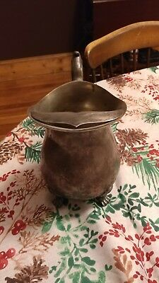 Vintage leonurd claw footed silver plate pitcher with ice lip guard