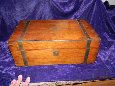 Antique Wood Sea Captain's Chest Portable Wooden Writing Desk with Brass Work