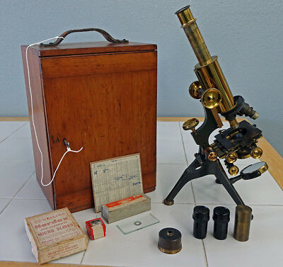J H Steward London Antique Brass New Bacteriological Microscope W/wd Case -C1903