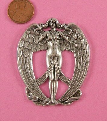 Lovely Antique Silver Plated Brass Art Nouveau Angel - 1 Pc