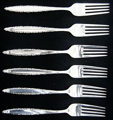 """Lot Of 6 Lunt LACE POINT Sterling Silver Dinner Forks 7.5"""" (A5356)"""