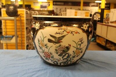 Large Chinese Porcelain Koi Fish Bowl Jardiniere Planter Pot