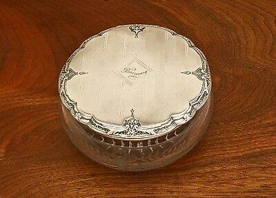 - Large R. Wallace & Sons Sterling Silver And Etched Glass Dresser Jar