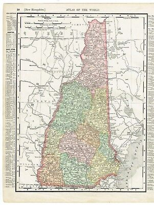 """Antique map hand-colored Maine and New Hampshire (1898) Rand McNally 11"""" x 14"""""""