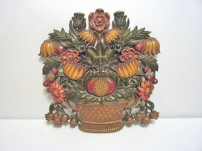 """Vintage Collectible  """"syroco"""" Floral Wall Plaque Hanging #5260A"""