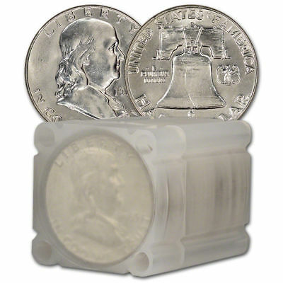 $10 Face Value Franklin Half Dollars 90% Silver 20-Coin Roll AU/BU