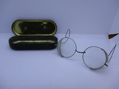 Vtg Usa Marked Safety Glasses Goggles Steampunk Side Shields Coil Ears With Case
