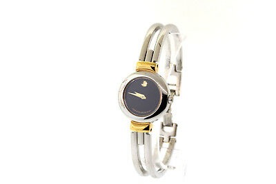 Ladies Movado 0604454 Harmony Two-Tone Stainless Steel Black Dial Bangle Watch