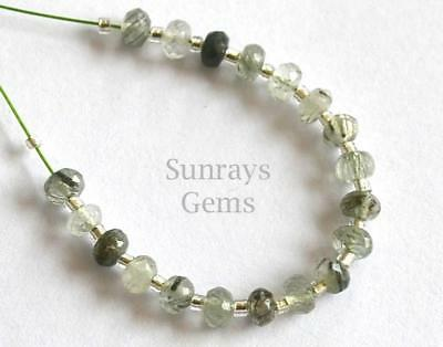 Green Rulite Beads Faceted Rondelle 3.5 Mm Natural Gemstone 5 Cts. 19 Pcs #3947