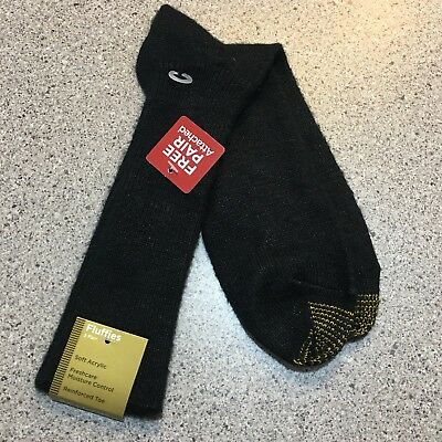 Gold Toe Fluffies Soft Acrylic Men's Socks Black Mid Calf - NEW