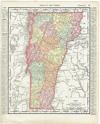 """Antique map hand-colored Massachusetts or Vermont (1898) Rand McNally 11"""" x 14"""""""