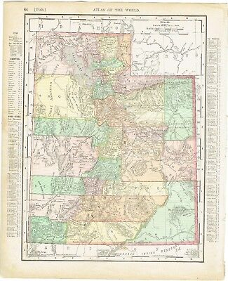 """Antique map hand-colored Utah or Wyoming (1895) Rand McNally 11"""" x 14"""""""