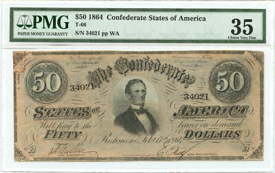 1864 $50 CSA Confederate States of America Note T-66 PMG Choice VF 35