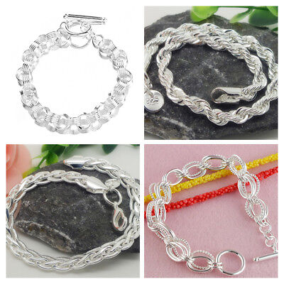 Men's Stainless Steel Chain Link Bracelet Silver Wristband Bangle Punk Jewelry