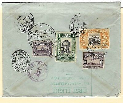 Large Ecuador 1931 First Flight registered cover to New York