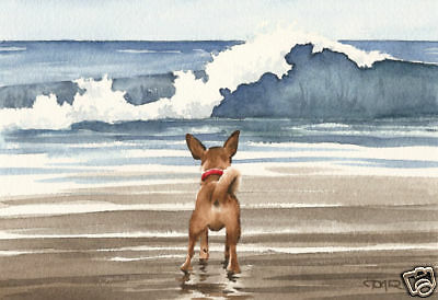 CHIHUAHUA AT THE BEACH Dog Watercolor Painting 8 x 10 ART Print Signed DJR