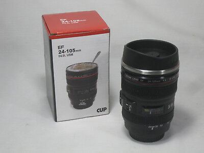 Camera Lens Thermos Canon EF 24-105mm Coffee Mug Cup Stainless w Drinking Lid