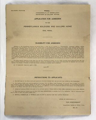 Antique WW1 Veteran Pennsylvania Soldiers And Sailors Home Application For 1937
