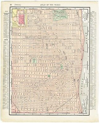 """Antique map hand-colored Detroit and Michigan (1895) Rand McNally 11"""" x 14"""" orig"""