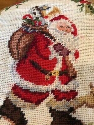 Santa Claus Hand Stitched Needlepoint Kitchen Cover Inside Lined 12 X 10 in NEW