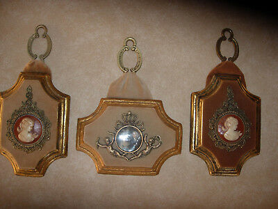 Set Of 3 Vintage Shabby Victorian Chalkware Wall Plaques Decor