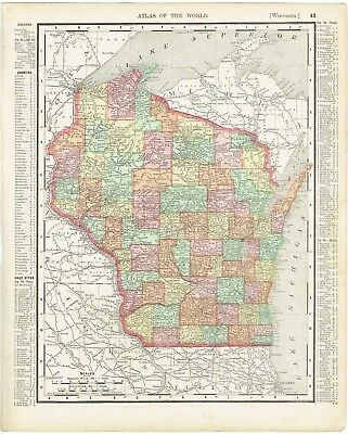 """Antique map hand-colored Wisconsin or Minnesota (1895) Rand McNally 11"""" x 14"""""""