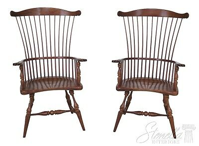 46269EC: Pair FREDERICK DUCKLOE Windsor High Fan Back  Arm Chairs