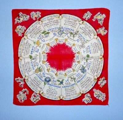 Vintage Zodiac Circle Horoscope Handkerchief Hankie Birthstones Flowers Signs