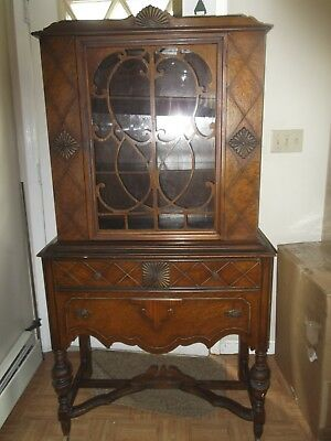 1930's  Wooden China Cabinet * Antique