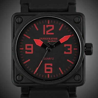 Infantry Men's Analog Wrist Watch Square Red Military Army Sport Rubber Silicone