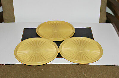 Vintage Tupperware Lot of 3 Servalier Round Replacement Lids #808 Harvest Gold
