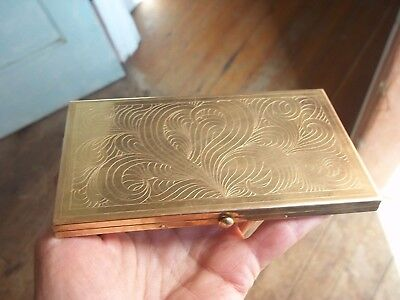 Vintage Brass Deco Etched Cigarette Card Holder Case Push Button Wadsworth