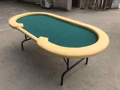 """90"""" Bellagio POKER TABLE - GREEN AND WHITE POLYESTER FELT"""