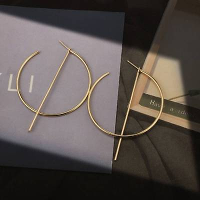 Vintage Golden Circle Round Earrings with Line Charm Hypoallergenic Hoop Earring