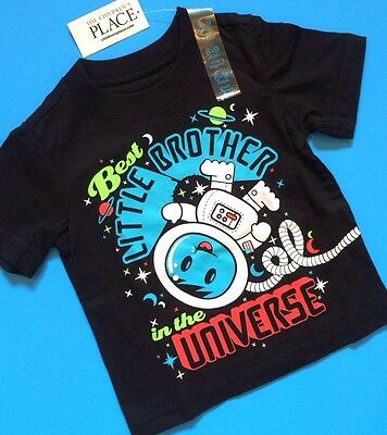 """*NEW* """"Best Little Brother in Universe"""" Baby Boys Shirt 18-24 Months 4T Gift!"""