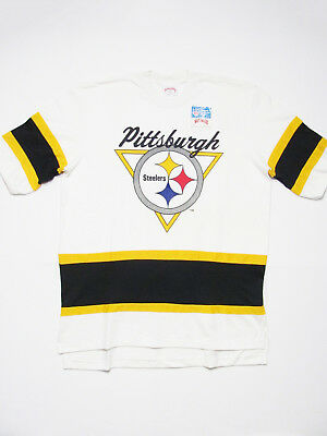 vintage 80s PITTSBURGH STEELER DEADSTOCK NUTMEG FOOTBALL HOCKEY jersey t-shirt L