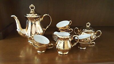 Bareuther Gold China Tea set. Full complete set (6) Perfect condition.