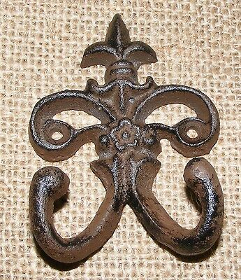 Wall Hook Cast Iron SET OF 4 Double Fleur De Lis Coat Hat Key Jewelry #406