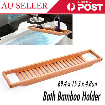 Wooden Bamboo Bath Caddy Tray Bathtub Rack Shelf Storage Wine Glass Holder AU