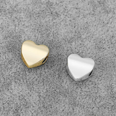 10Pcs Silver/Gold Tone 5mm Hole Heart Sliders Spacer Beads DIY Jewelry Findings