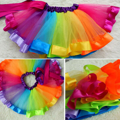 Girl Layered Rainbow Tutu Dance Skirt Rave Party Ballet Dance Ruffle Tiered AU