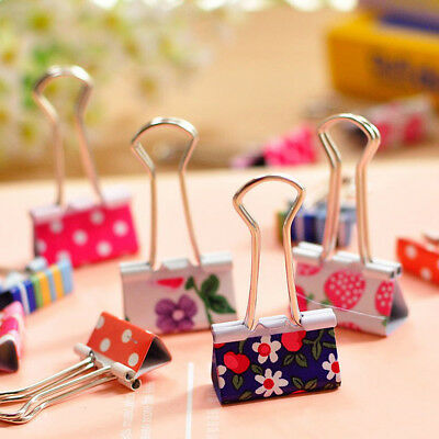 24pcs Cute Colorful Metal Binder Clips File Paper Clip Office Supplies 19mm XS