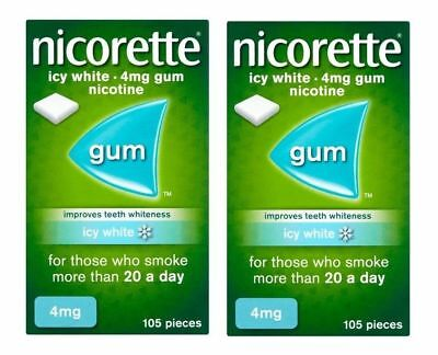 Nicorette Icy White Chewing Whitening Gum, 4 mg, 105 x 2 - 210 Pieces