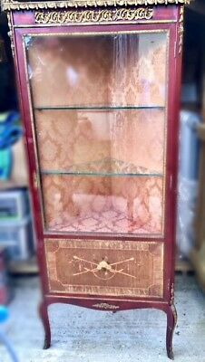 Antique corner cabinet with inlay and brass detail