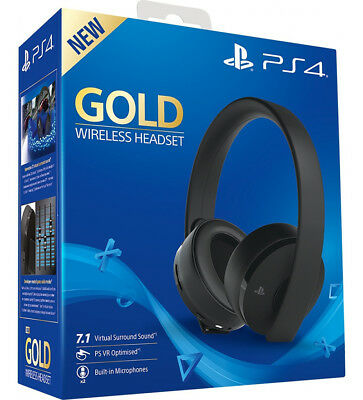 SONY PLAYSTATION GOLD WIRELESS HEADSET 7.1 Cuffie Gaming PS4 NUOVO